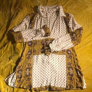 Free people long sleeve tunic dress size small